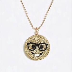 Crewcuts Emoji Charm Necklace-NWT-Nerd Emoji Gold